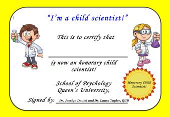 Child Scientist Certificate